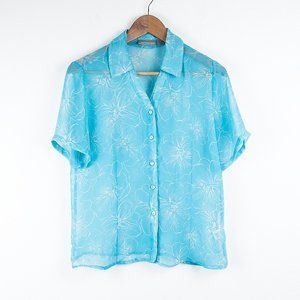 Croft & Barrow Floral Sheer Turquoise Shirt S